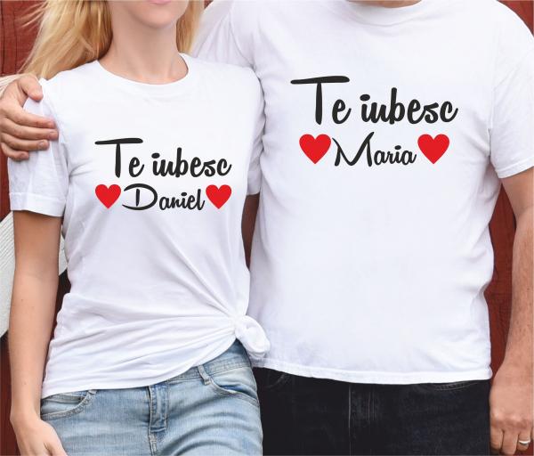 Tricouri Cuplu Personalizate - Te iubesc + Nume 0