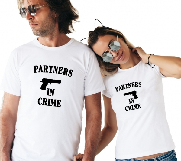 Tricouri Cuplu Personalizate -  Partners in Crime 1