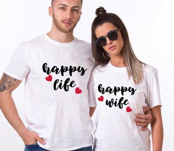 Tricouri Cuplu Personalizate - Happy wife happy life 1