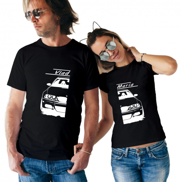 Tricouri Cupluri Auto - BMW E46 Personalizat Cu Nume Sau Numar 1