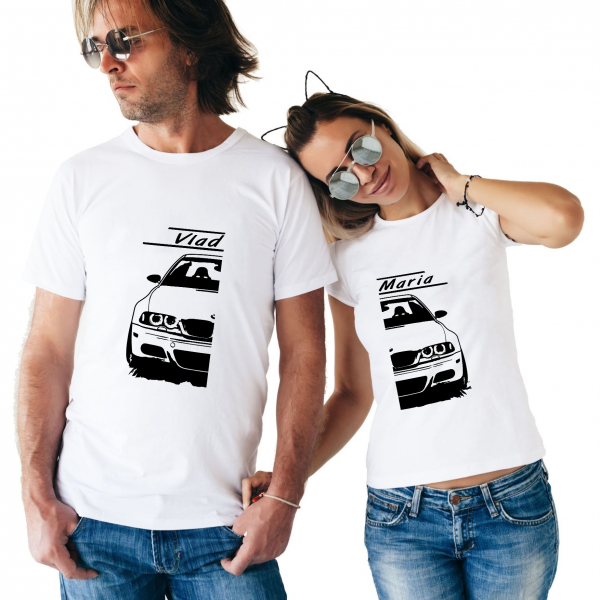 Tricouri Cupluri Auto - BMW E46 Personalizat Cu Nume Sau Numar 0