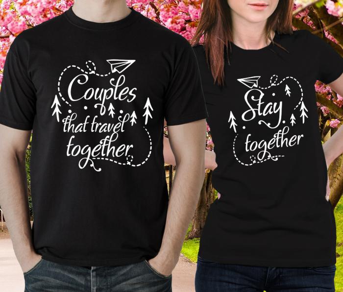 Tricou Personalizat Cuplu - Couples that travel togheter [1]