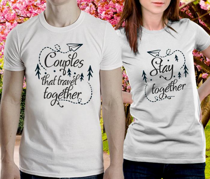 Tricou Personalizat Cuplu - Couples that travel togheter [0]