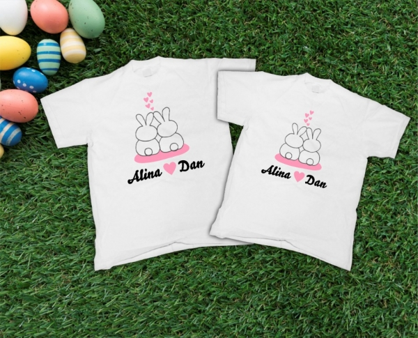 Tricouri Personalizate de Paste - Iepurasi Indragostiti cu nume 3 0