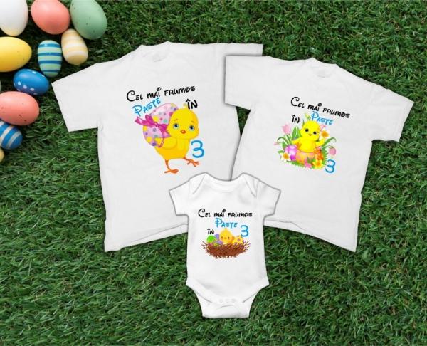 Set Tricouri Personalizate Familie - Cel mai frumos Paste in 3 0