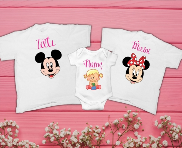 Set Tricouri si Body Personalizate Familie - Mickey si Minnie cu nume 0