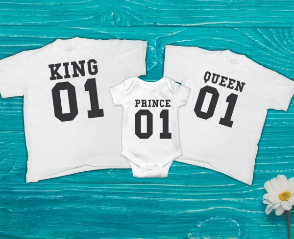 Set Tricouri Personalizate Familie - King, Queen and Prince 0