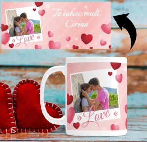Cana personalizata cu poza si mesaj - Love1