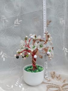 Flori decorative din margele M28 - Margele de nisip sau sticla si Aquamarin1