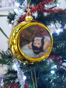 Glob Pentru Brad Cu Poza - Auriu 8cm Sublimabil2
