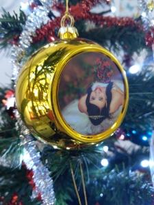 Glob Pentru Brad Cu Poza - Auriu 8cm Sublimabil3