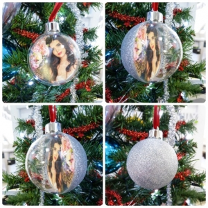 Glob Pentru Brad Cu Poza Rotund - Glitter Argintiu 10cm3