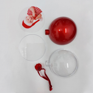 Glob Pentru Brad Cu Poza - Rotund Rosu 10cm1