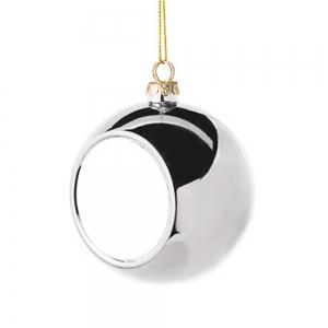 Glob Pentru Brad Cu Poza - Argintiu 8cm Sublimabil [4]
