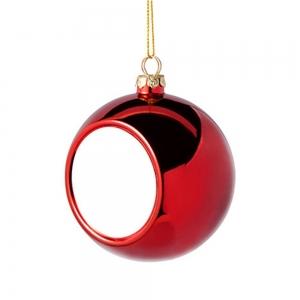Glob Pentru Brad Cu Poza - Rosu 8cm Sublimabil [2]