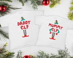 Tricouri Cuplu Craciun Personalizate - Mommy And Daddy Elf1