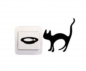 Sticker Decorativ Intrerupator - Pisica si acvariu0