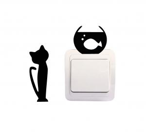 Sticker Decorativ Intrerupator - Pisica si acvariu 20
