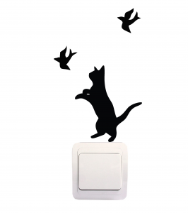 Sticker Decorativ Intrerupator - Pisica si pasari [0]