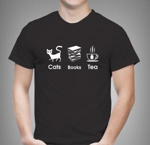 Tricou Personalizat - Cats, Books And Tea1
