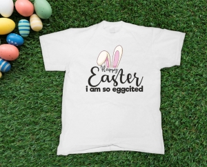 Tricou Personalizat de Paste - Eggcited about Easter0