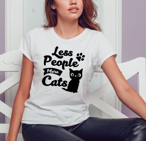 Tricou Personalizat Pisici - Less People More Cats0