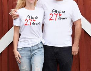 Tricouri Cuplu Personalizate - Al Ei / A Lui de 27 Ani0
