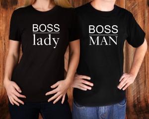 Tricouri Cuplu Personalizate - Boss Man And Boss Lady1