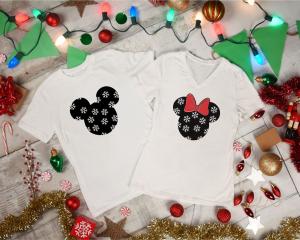 Tricouri Cuplu Personalizate Craciun - Mickey And Minnie1