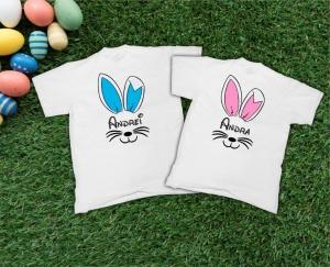 Tricouri Cuplu Personalizate de Paste cu Nume - Fete de iepurasi [0]
