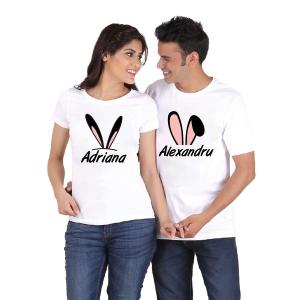 Tricouri Cuplu Personalizate de Paste cu nume si urechi 2 [1]