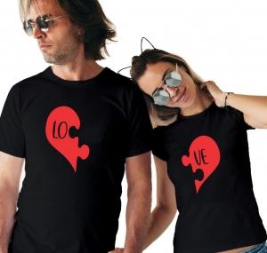 Tricouri Cuplu Personalizate - Love puzzle1