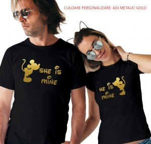 Tricouri Cuplu Personalizate - She is mine / He is mine0