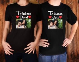 Set Tricouri Cuplu Personalizate - Te iubesc cu Nume si Poza [1]