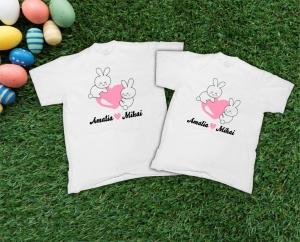 Set Tricouri Personalizate de Paste - Iepurasi Indragostiti cu nume0