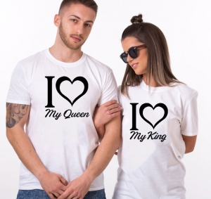 Tricouri Cuplu Personalizate - I love my king / queen1