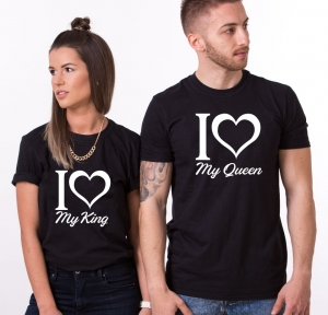 Tricouri Cuplu Personalizate - I love my king / queen0