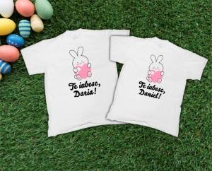 Tricouri Personalizate de Paste - Iepurasi Indragostiti cu nume 20