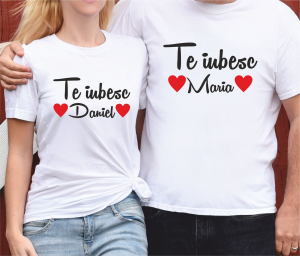 Tricouri Cuplu Personalizate - Te iubesc + Nume0