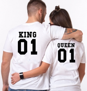 Tricouri Cuplu Personalizate - King and Queen1