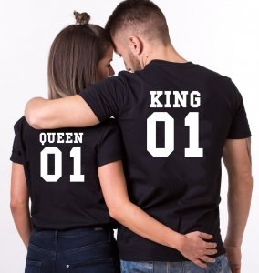 Tricouri Cuplu Personalizate - King and Queen0