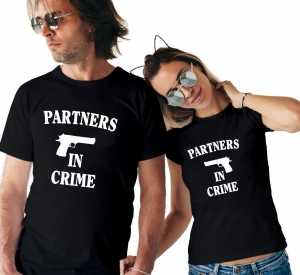 Tricouri Cuplu Personalizate -  Partners in Crime0