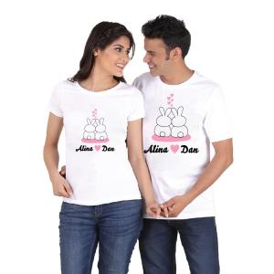Tricouri Personalizate de Paste - Iepurasi Indragostiti cu nume 31
