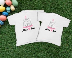 Tricouri Personalizate de Paste - Iepurasi Indragostiti cu nume 30