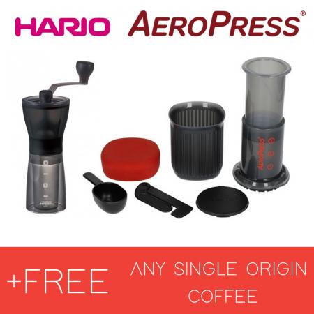 Bundle Rasnita HARIO Mini Slim + AeroPress GO + FREE MABÓ Single Origin0