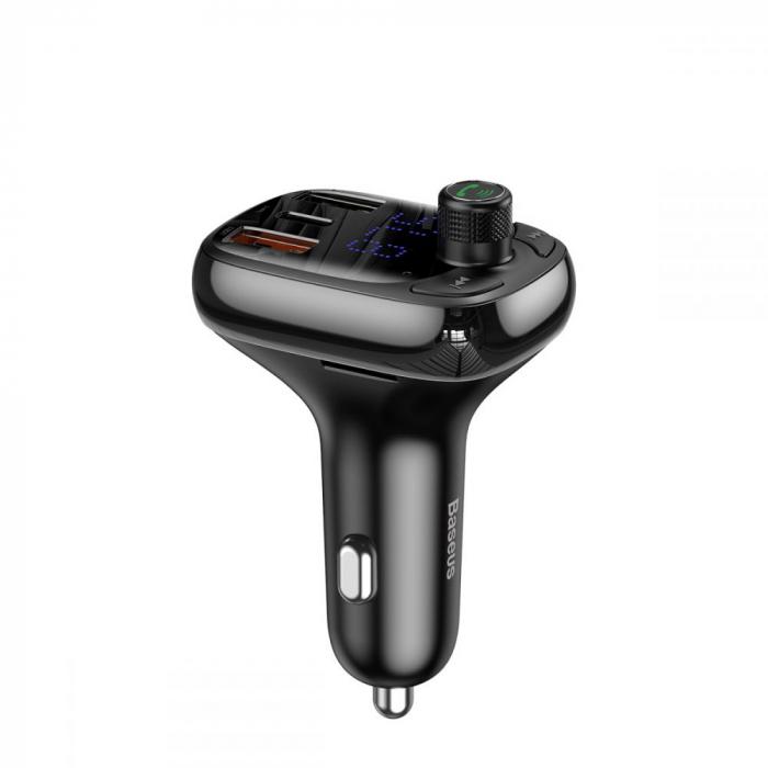 MODULATOR FM BASEUS S13 2-PORT USB CAR CHARGER + TRANSMITER FM BLACK 0