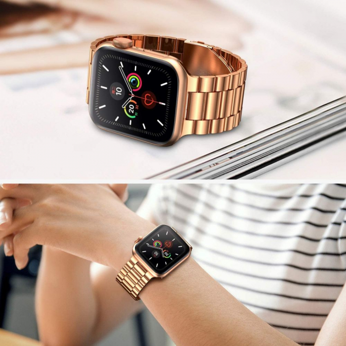 Curea otel inoxidabil Tech-Protect Stainless Apple Watch 1/2/3/4/5/6/SE (38/40mm) Rose Gold 2