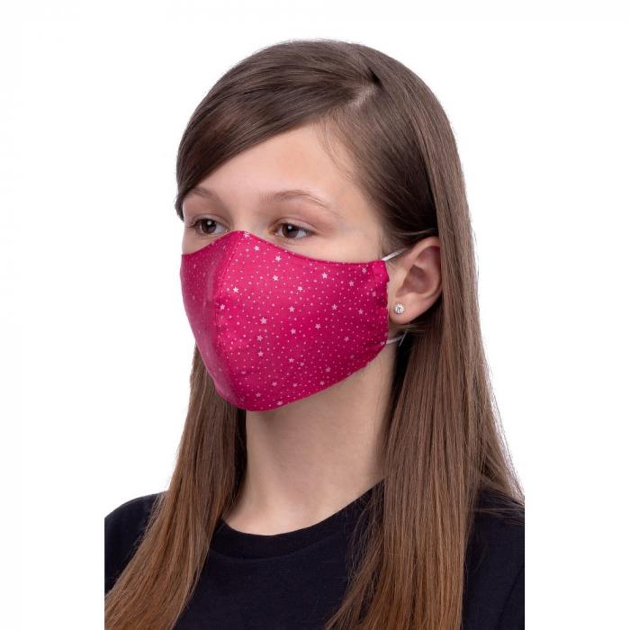 Masca  de protectie din material textil reutilizabila, bumbac 100%, roz 1