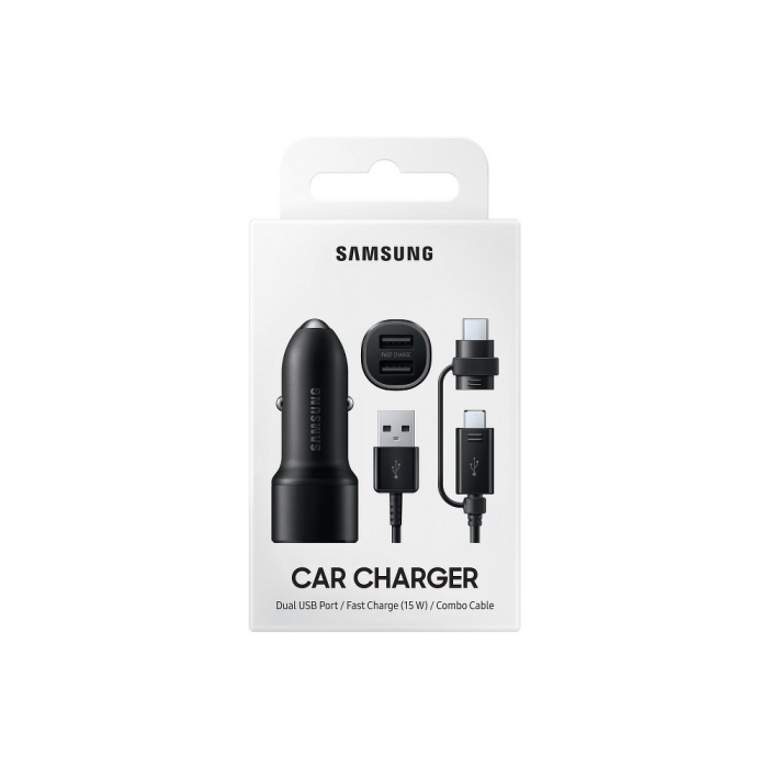 Incarcator auto Samsung Dual Car Charger (15W+15W, 2 Port, EP-L1100) + Combo Cable 4
