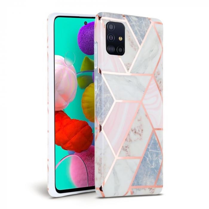 Carcasa TECH-PROTECT Marble Samsung Galaxy A71 Pink 0